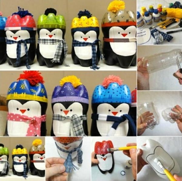 idée de décoration Noël diy pingouins faits de bouteilles plastique et peinture