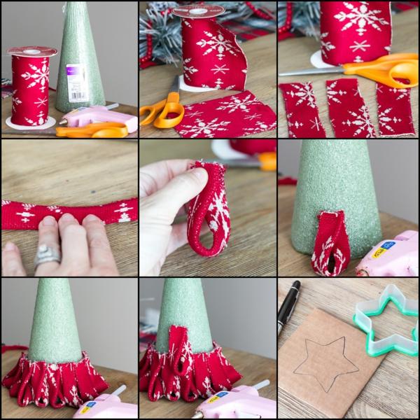 idée de décoration Noël diy mini-sapin cône de mousse florale et ruban