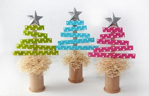 idée déco Noël à fabriquer soi-même sapins faits de matériaux naturels