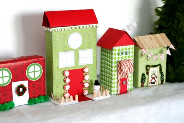 idée déco Noël à fabriquer soi-même village de noël en carton