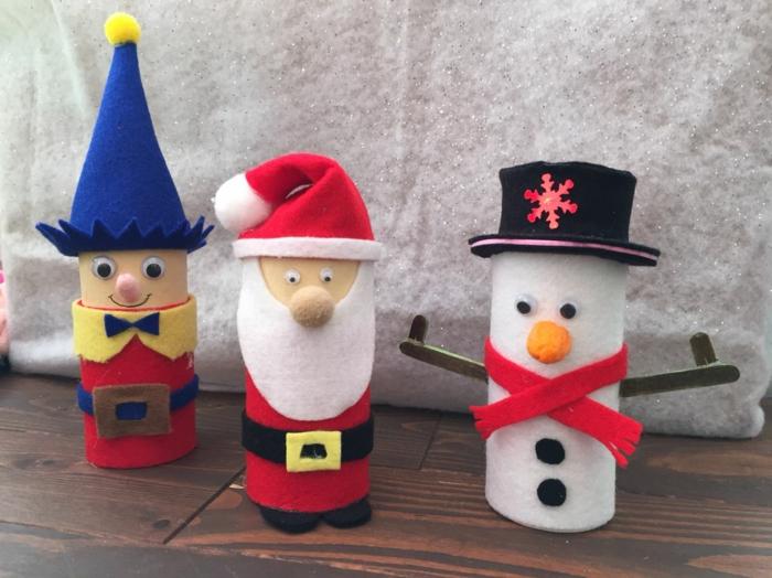 déco festive noël bonhomme de neige en chaussette ou en rouleau de papier toilette