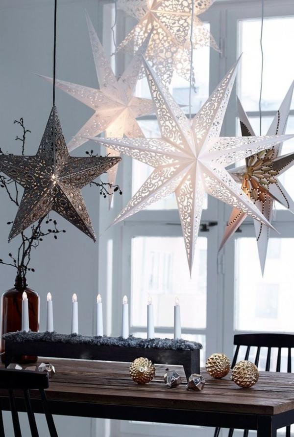 idée de décoration noël tendance étoiles suspendues faites en métal