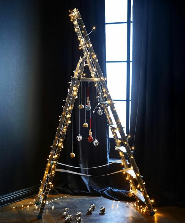 idée de décoration noël tendance sapin échelle style nordique
