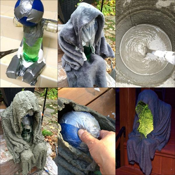 idée de déco extérieure pour halloween figure faite à partir de ciment