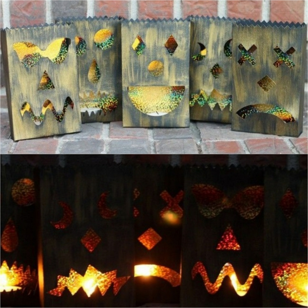 idée de décor halloween extérieur lanternes sacs papier