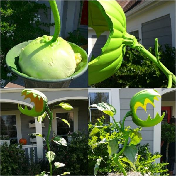 idée de décoration extérieur halloween diy plante monstre géante faite à partir d'une citrouille creusée et d'une branche