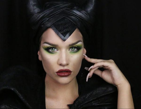 déguisement maléfique maquillage fard à paupières vert