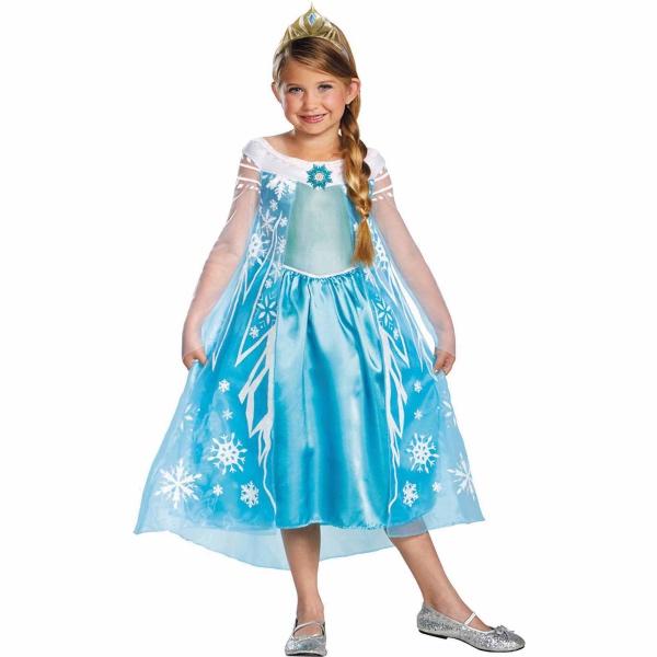 déguisement Elsa robe bleue en satin