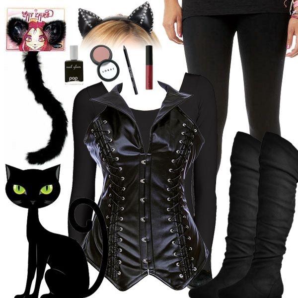 déguisement chat costume en cuir