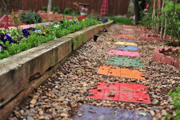 diy dalles de cheminement colorées