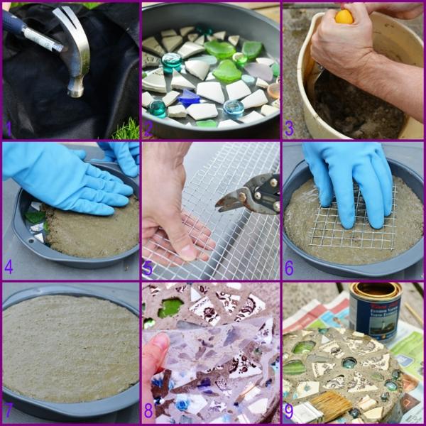 diy dalles de cheminement en béton et pièces de porcelaine