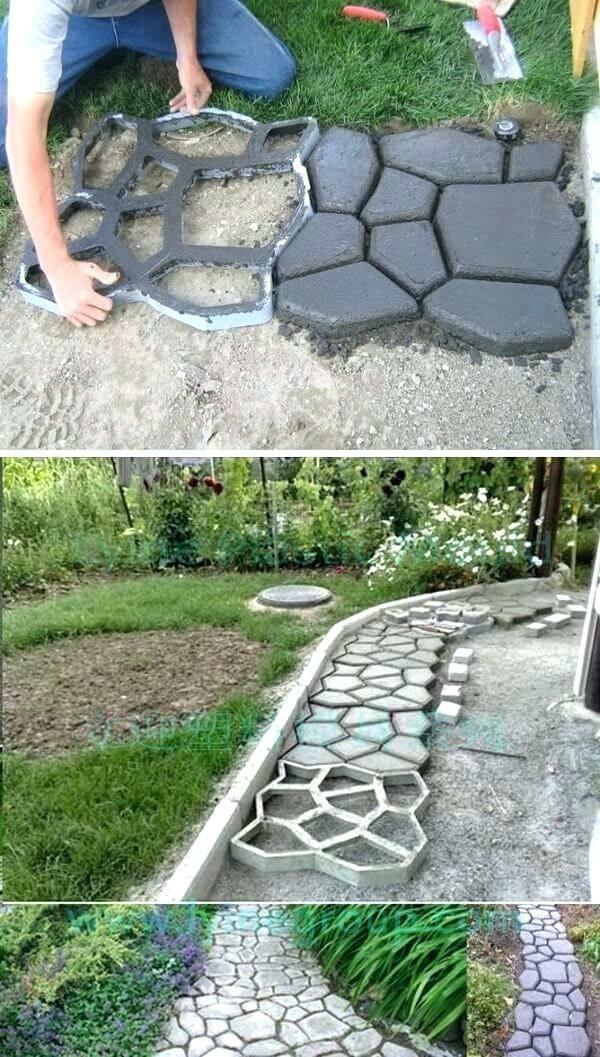 diy dalles de cheminement en béton imitation pierres de rivière