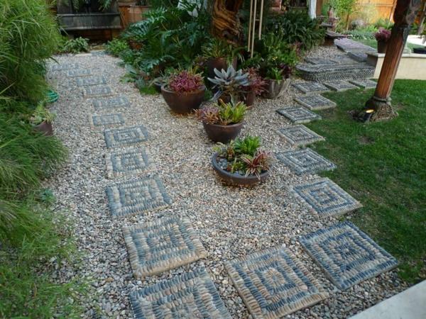 diy dalles de cheminement en pierres décoratives
