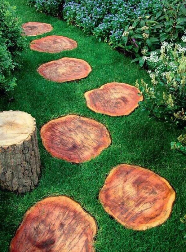 diy dalles de cheminement en rondelles de bois