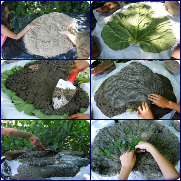 diy dalles de cheminement feuilles