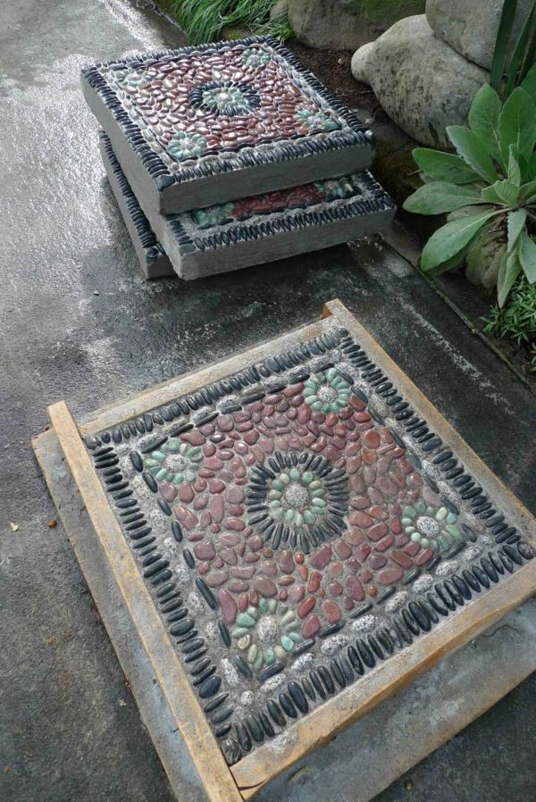 diy dalles de cheminement mosaïque en pierres