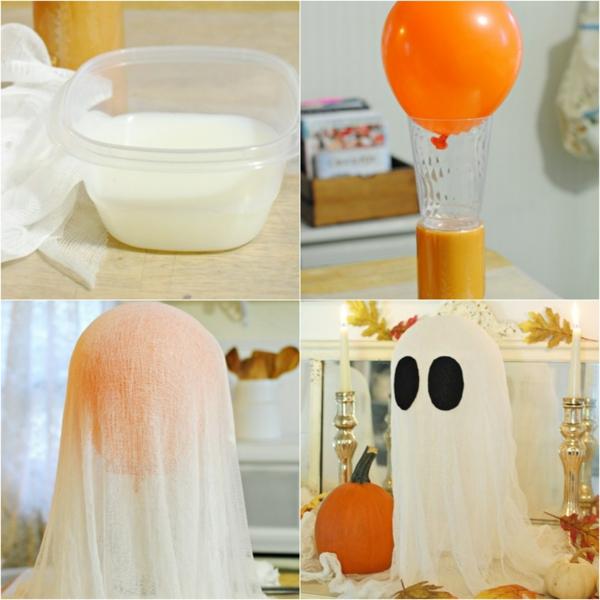 fabriquer un fantôme pour halloween avec ballon et gaze