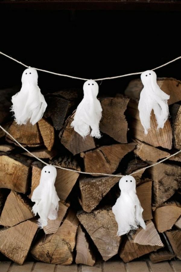 fabriquer un fantôme pour halloween déco guirlande