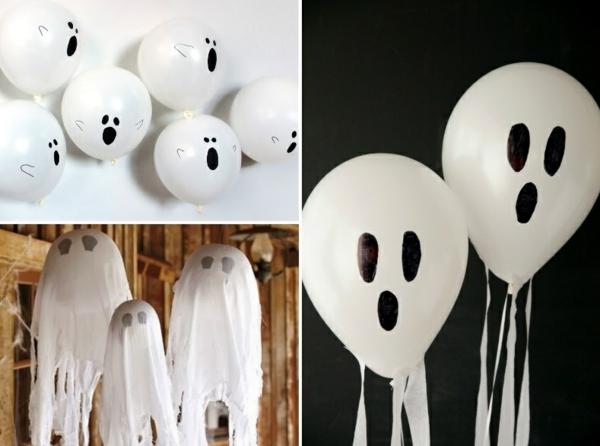 fabriquer un fantôme pour halloween de ballon et gaze