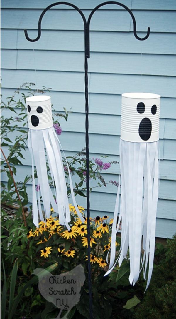 fabriquer un fantôme pour halloween de boîte de conserve