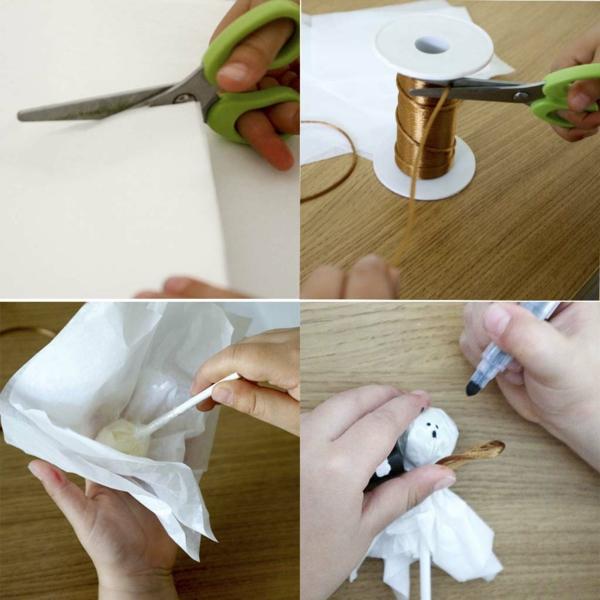 fabriquer un fantôme pour halloween de sucette et papier