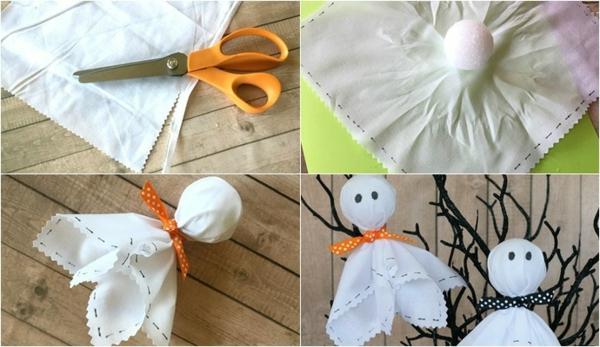 fabriquer un fantôme pour halloween en papier crépon