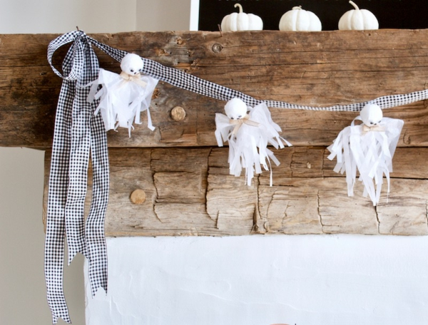 fabriquer un fantôme pour halloween en papier de soie