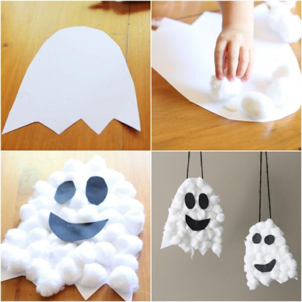 fabriquer un fantôme pour halloween en papier et coton