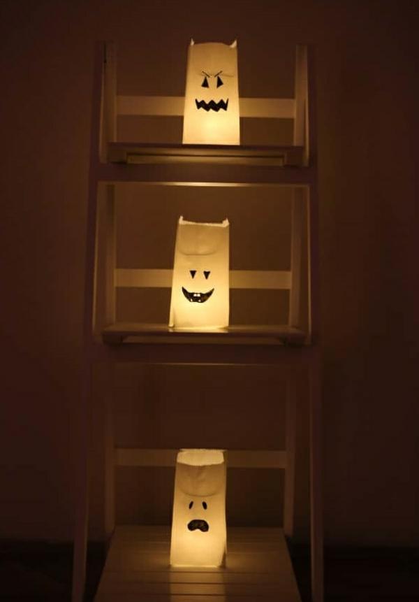 fabriquer un fantôme pour halloween en sac de papier