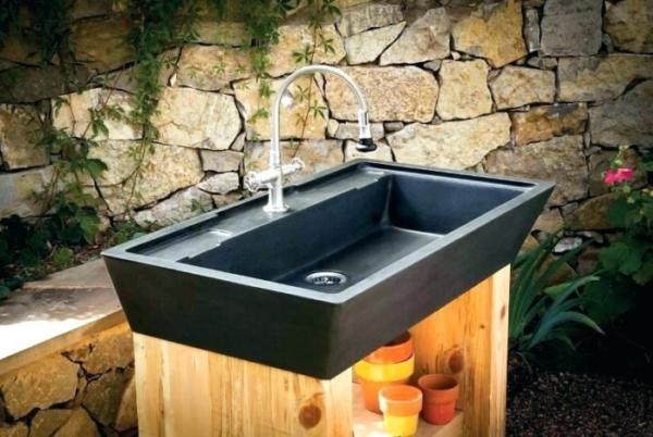fontaine extérieure de jardin vasque en acier