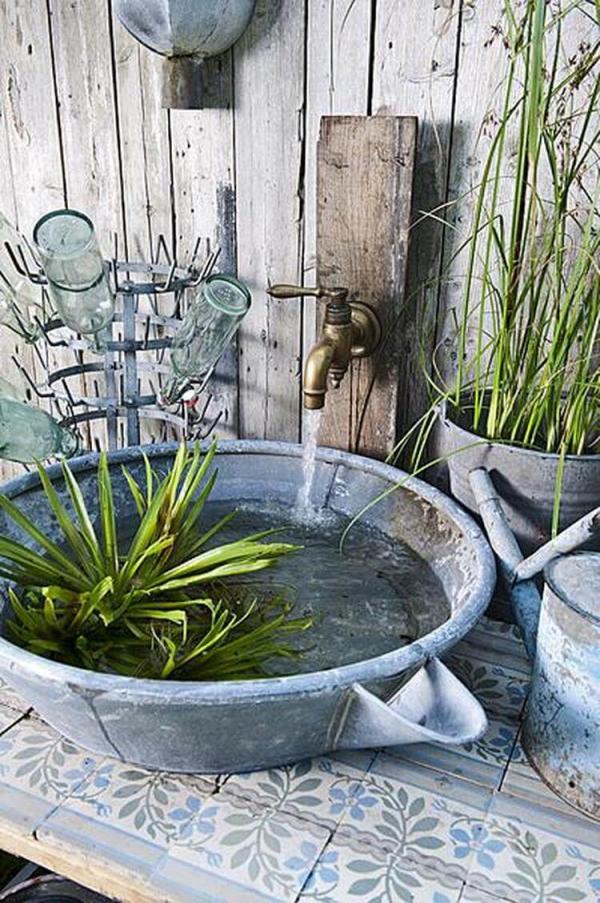 fontaine extérieure de jardin en style rétro