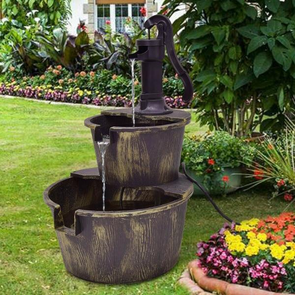 fontaine extérieure de jardin imitation de vieux bois