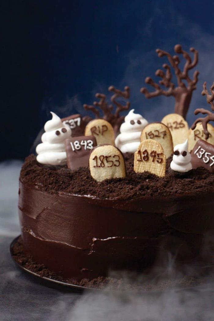 cimetière idée déco gâteau halloween 2019