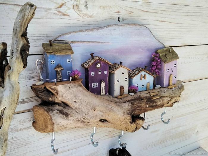 idée avec du bois flotté porte clés mural