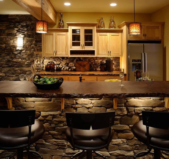 idée de salon pierre et bois