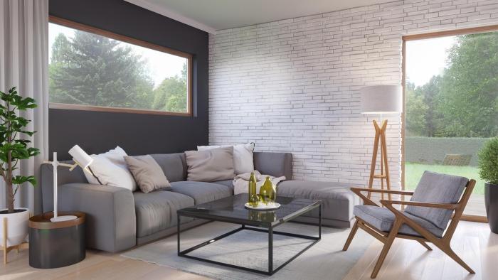 idée de salon meubles en bois et en métal
