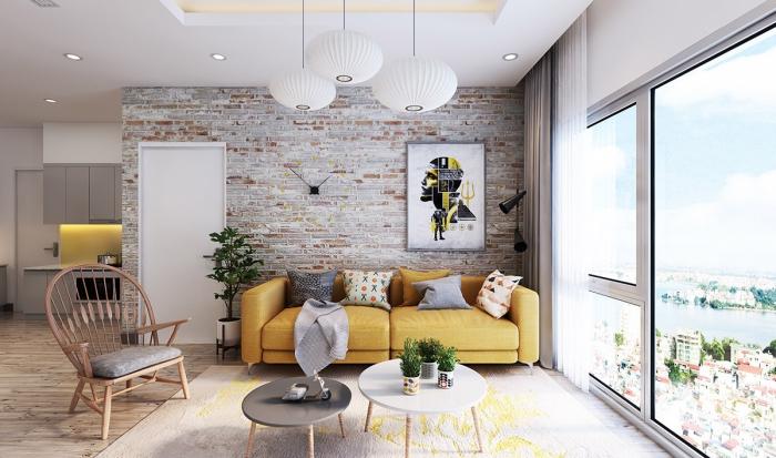 idée de salon mur en briques