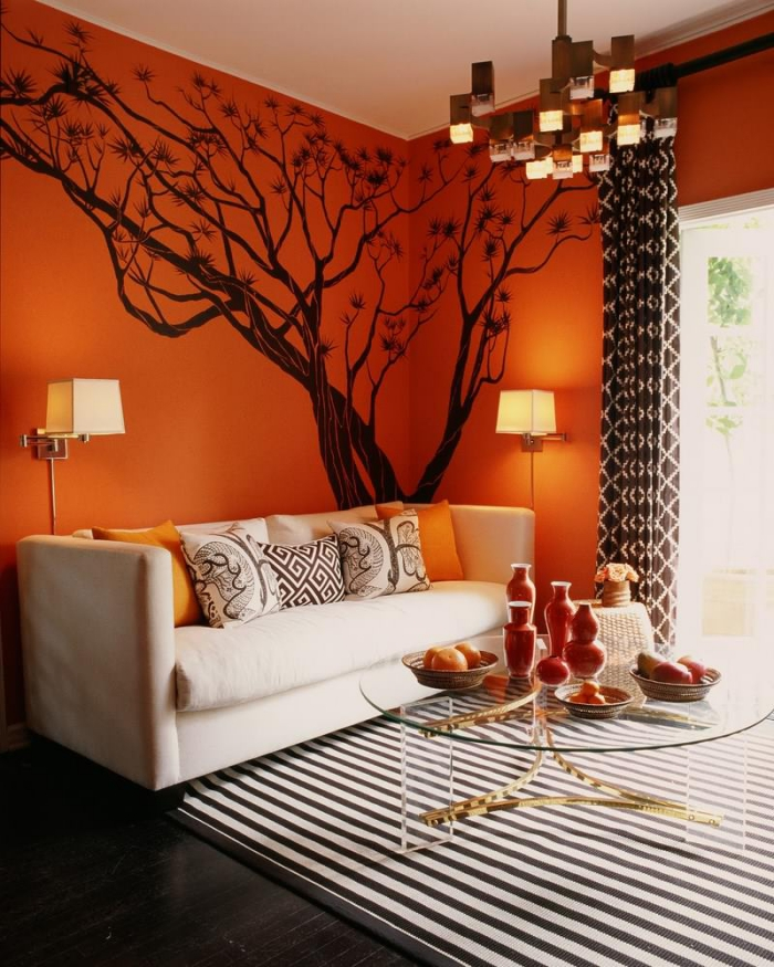 idée de salon mur orange