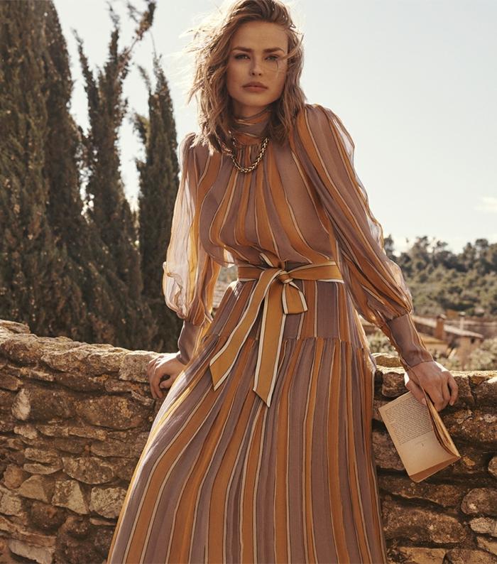 look tendance et élégant robe magnifique à manches bouffantes mode 2020