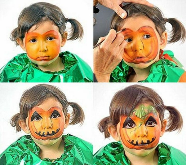 maquillage halloween enfant bébé fille citrouille