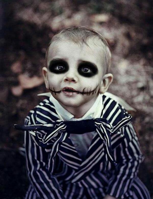 maquillage halloween enfant bébé garçon zombie