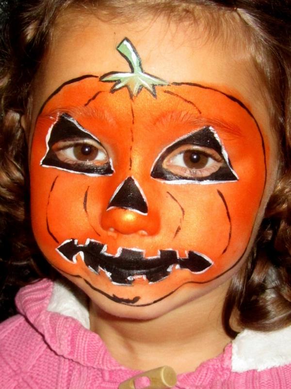 maquillage halloween enfant fille citrouille