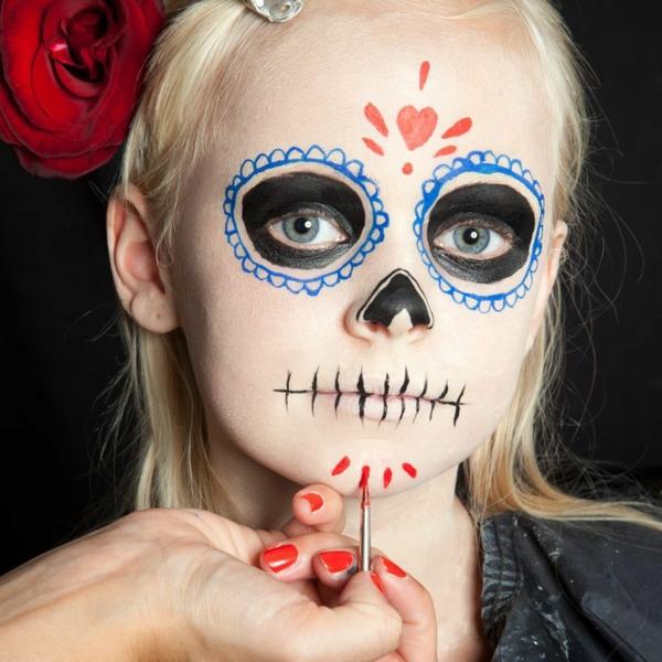 maquillage halloween enfant fille crâne de sucre