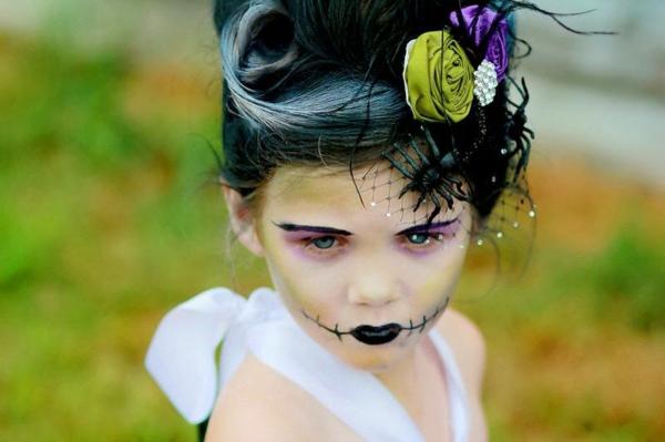 maquillage halloween enfant fille mariée de frankenstein