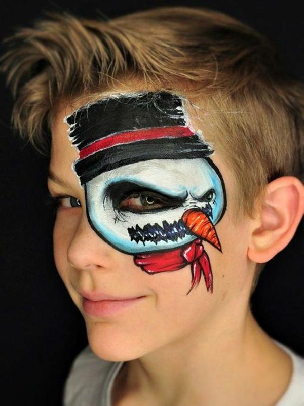 maquillage halloween enfant garçon bonhomme de neige