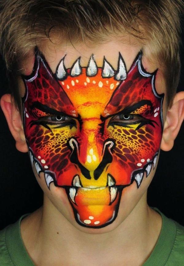maquillage halloween enfant garçon dragon