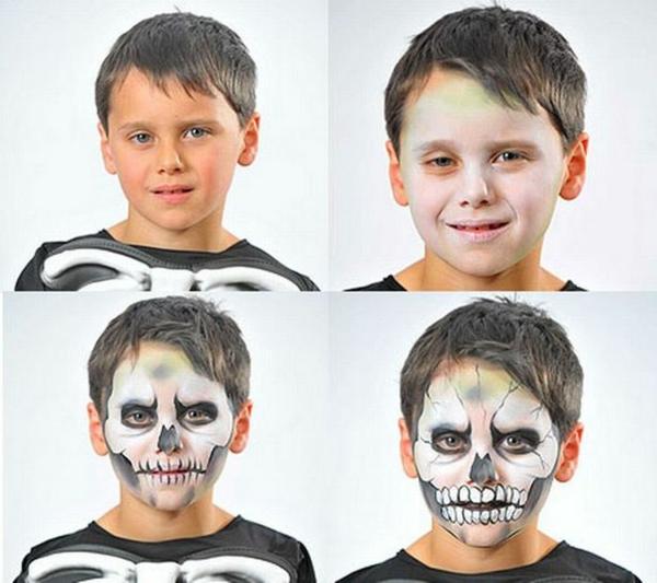 maquillage halloween enfant garçon squelette