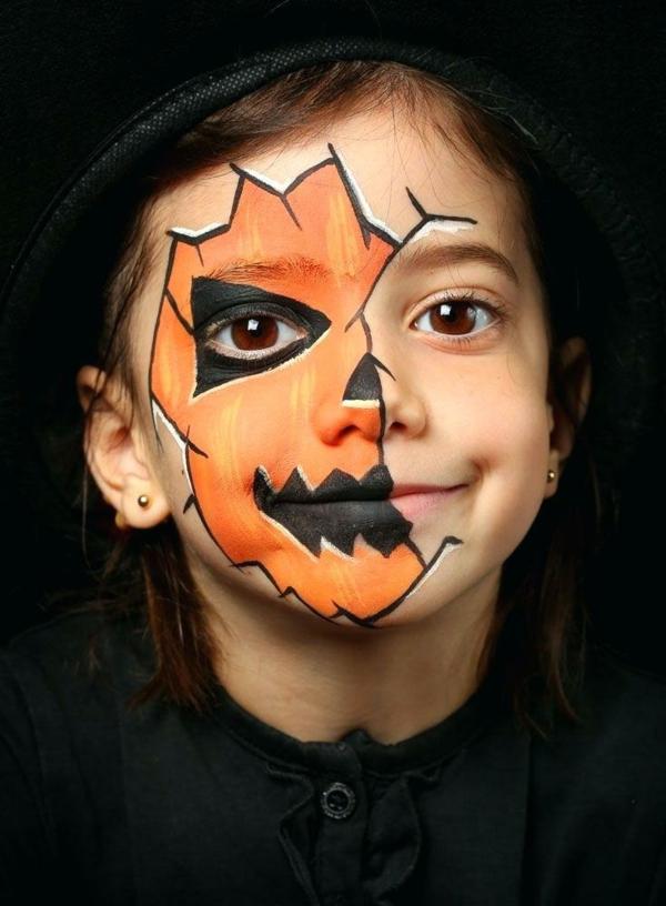 maquillage halloween enfant visage citrouille