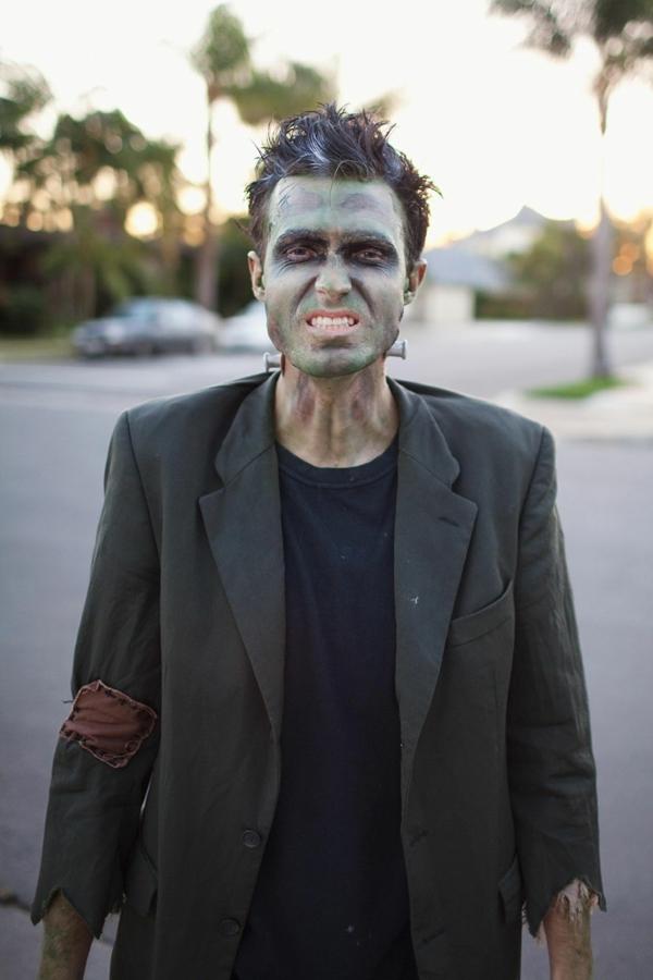 maquillage halloween homme Frankenstein
