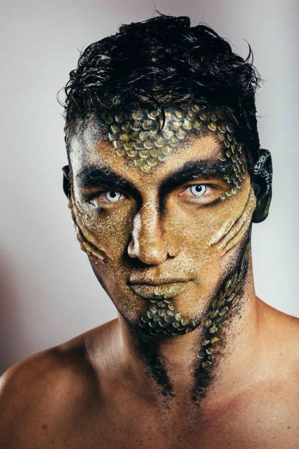 maquillage halloween homme amphibie